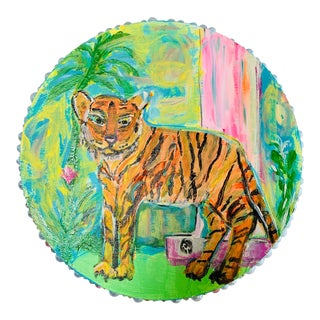 Tiger Painting on Wood Panel by Jj Justice For Sale