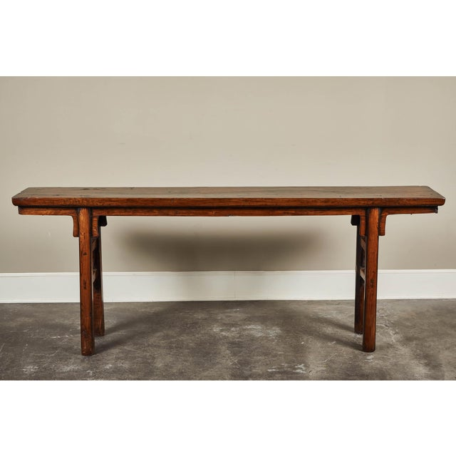 Brown 17th Century Chinese Elm and Poplar Altar Table For Sale - Image 8 of 9