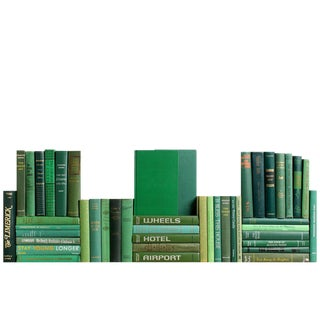 Midcentury Green Book Wall - Set of Fifty Decorative Books For Sale