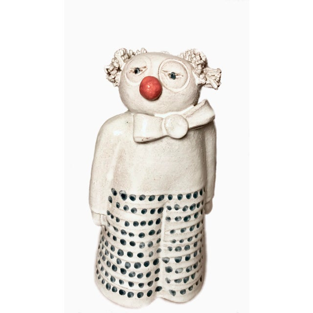White Mid Century Signed Studio Pottery Clown For Sale - Image 8 of 8