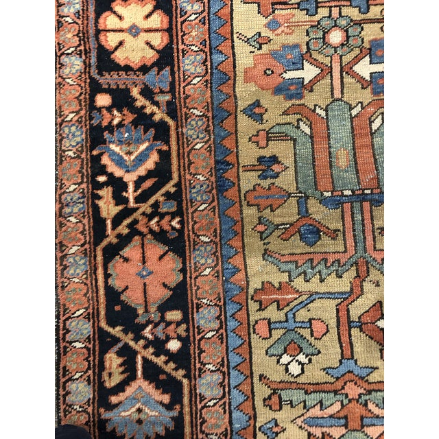 Colorful Vintage Persian Heriz Rug For Sale In Boston - Image 6 of 7