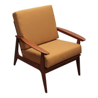 1960s Teak Reupholstered American Modern Lounge Chair For Sale