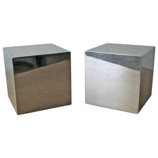 Design Line Bill Curry Nickel Cube Sculptures - a Pair