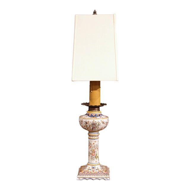 19th Century French Colorful Hand-Painted Ceramic Oil Table Lamp For Sale