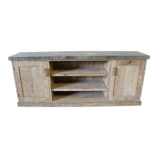 Reclaimed Wood Console Cabinet With Zinc Top
