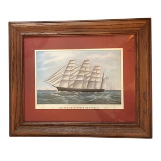 19th Century Antique American Clipper Ship Framed Engraving Print For Sale