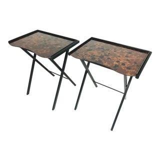 Mid-Century Tortoise Folding Tv Tray Tables by Artex Green Buttlerette - Pair For Sale