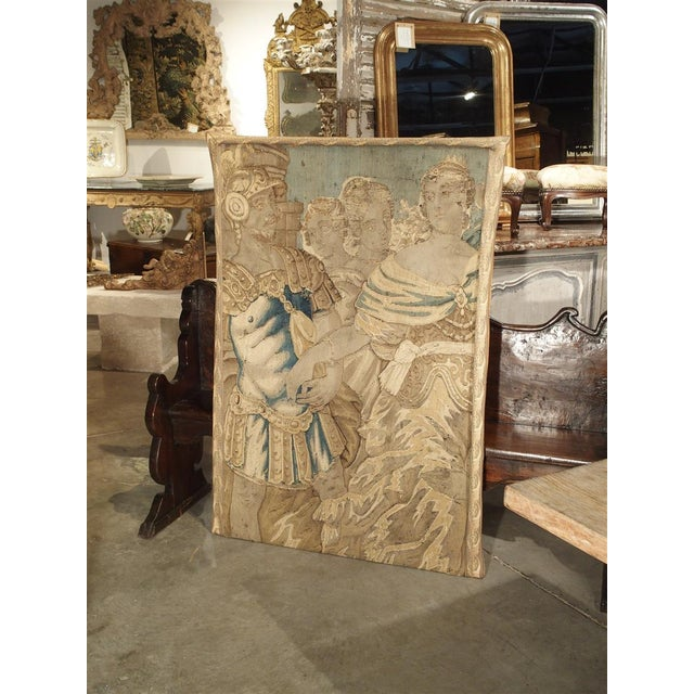 French 17th Century French Tapestry Fragment on Frame For Sale - Image 3 of 11