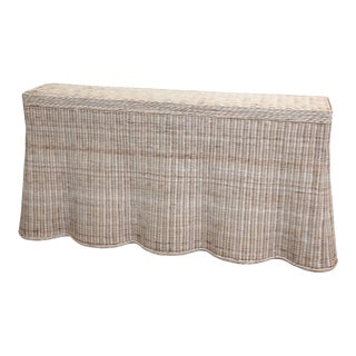 Natural Finish Rattan Scalloped Console For Sale