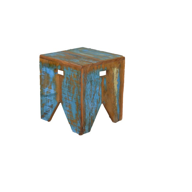 Art Deco Reclaimed Wood Stool For Sale - Image 3 of 3
