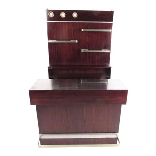 Italian Modern Rosewood Bar With Wall Unit For Sale