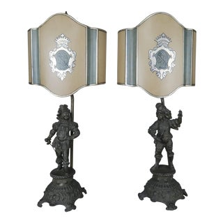 Spanish Figural Lamps W/ Parchment Shades - A Pair For Sale