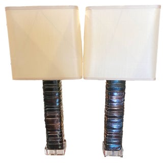 Robert Kuo Silver Plate Table Lamps - a Pair For Sale