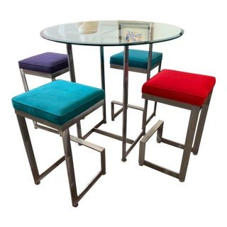 1970s Chrome and Glass High-Top Table & 4 Stools - 5 Pieces For Sale