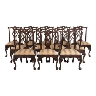 Henredon Rittenhouse Square Collection Mahogany Chippendale Dining Chairs - Set of 12 For Sale