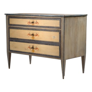 19th Century Painted Italian 3-Drawer Chest For Sale