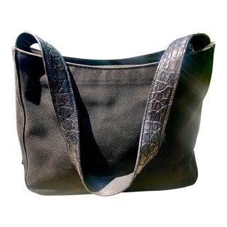 Prada Black Canvas Shoulder Bag With Croc Embossed Strap For Sale