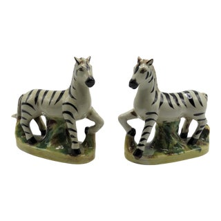 Antique Staffordshire Zebra Figurines, a Pair For Sale
