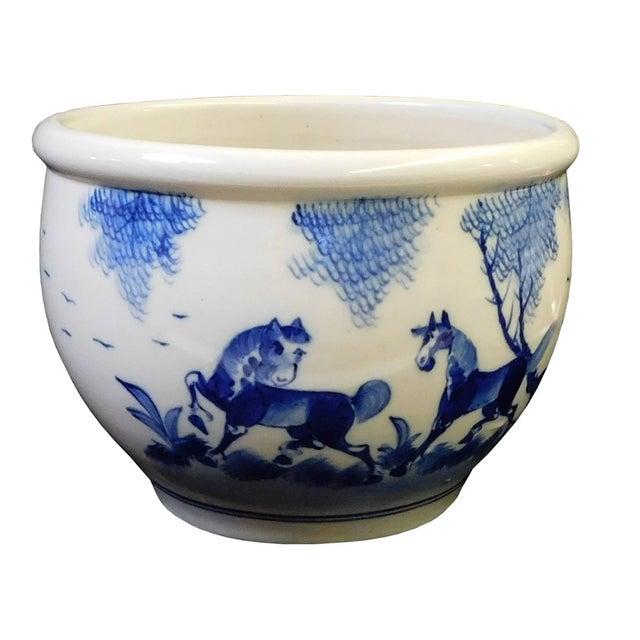 Chinese Blue & White Porcelain Brush Holder For Sale