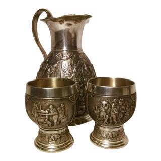 Vintage Art Nouveau Germany Pewter Pitcher & Wine Cups - 3 Pc.