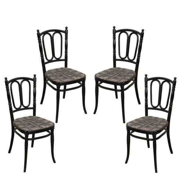 Set of Four Ebony Thonet Bentwood Side Chairs For Sale - Image 13 of 13