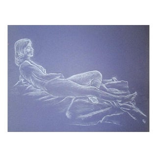 Mid-Century Reclining Nude Pastel Drawing For Sale