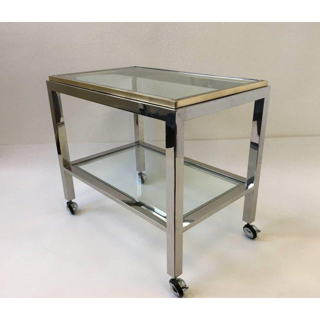Chrome and Brass Bar Cart by Renato Zevi For Sale In Palm Springs - Image 6 of 10