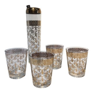 Vintage Mid-Century Cocktail Barware Glasses With Cocktail Shaker For Sale