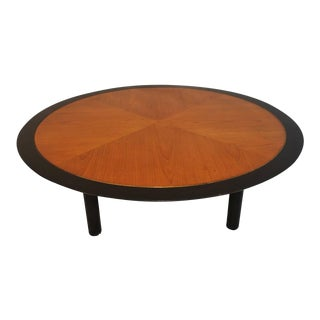 Coffee Table With Walnut Inlaid and Brass Decoration by Baker For Sale