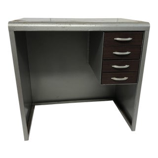Vintage Industrial Gunmetal Gray Steel Student Desk For Sale