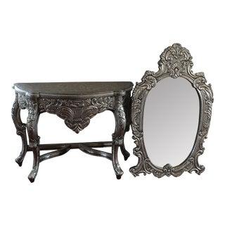 Handmade Vanity & Mirror Set in Silver - A Pair For Sale