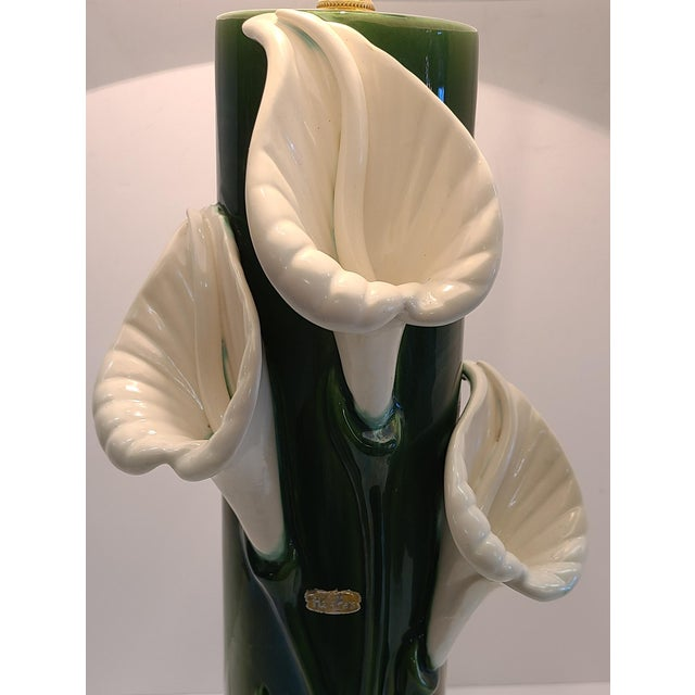 Haeger Peace Lily Ceramic Lamp With Shade by Haeger For Sale - Image 4 of 13