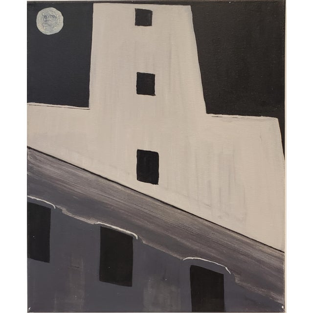 Contemporary Painting of Old Silo Building at Night Downtown Dallas For Sale In Dallas - Image 6 of 6