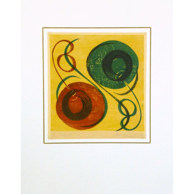 Mid-Century Modern Abstract Woodblock Print, 1969 - Image 3 of 3