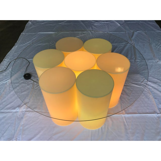 Vintage Plastic Groovy Cylinder Coffee Table - Lights Up For Sale - Image 4 of 9