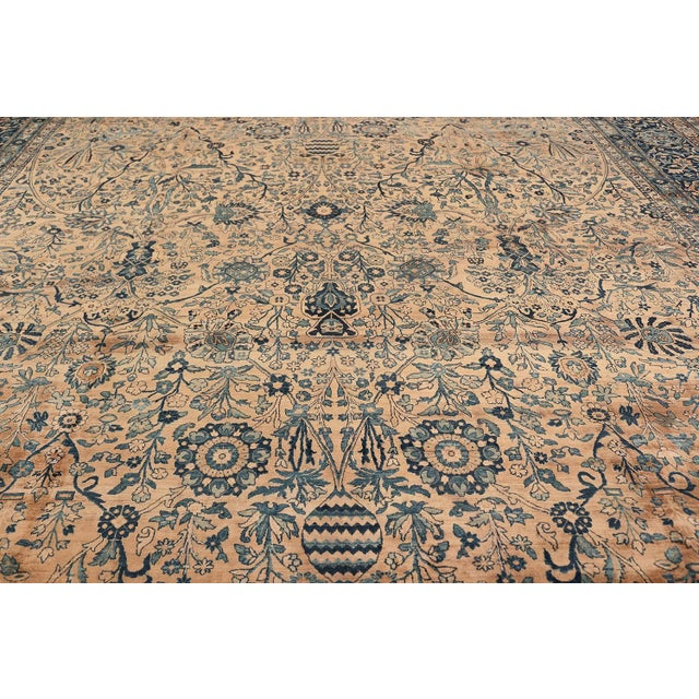 Islamic Antique Persian Kerman Oversized Vase Design Carpet - 13′6″ × 25′5″ For Sale - Image 3 of 13