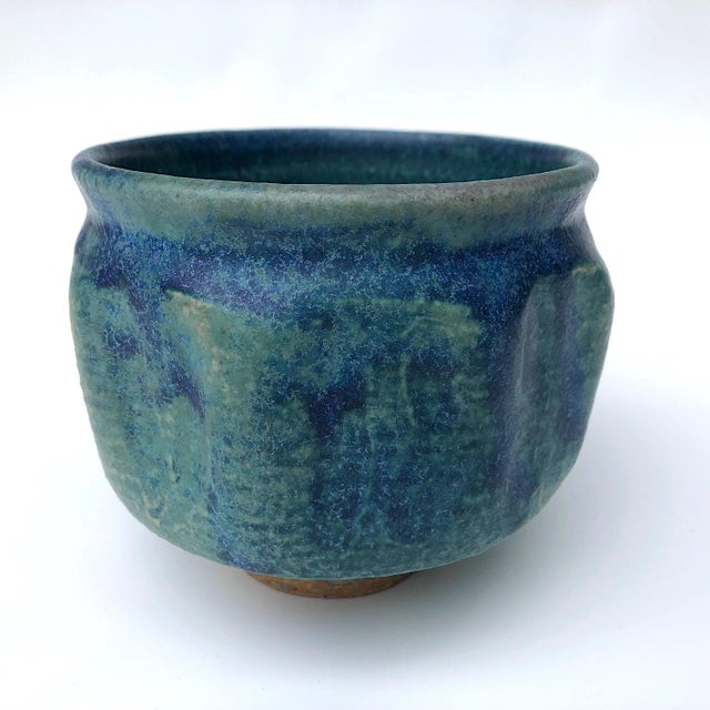 Mid-Century Blue Green Glazed Studio Pottery Bowl / Planter For Sale - Image 13 of 13