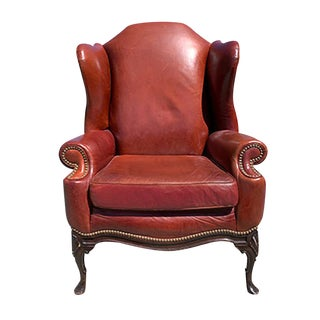 1930s Vintage Leather Wingback Chair For Sale