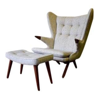 Papa Bear Styled Mid Century Modern Armchair + Ottoman For Sale