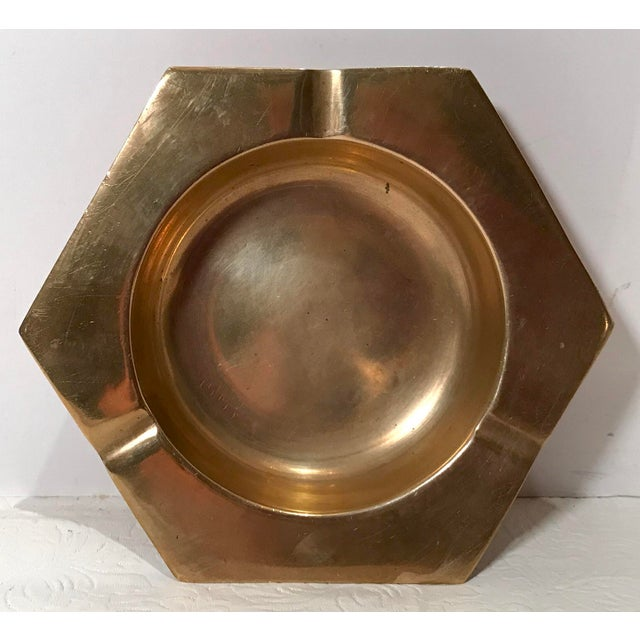 Metal Vintage Brass Six Sided Geometric Ashtray For Sale - Image 7 of 7