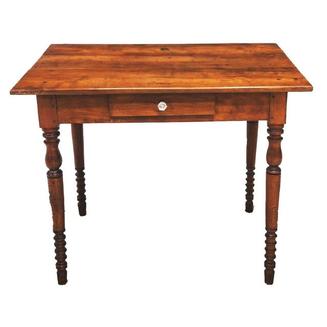 Antique Walnut French Louis Philippe writing desk side table from mid 19th c. This gorgeous table has a deep and rich...