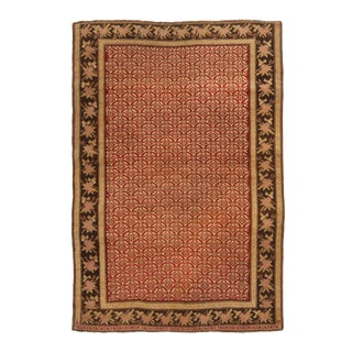 1900s Traditional Karabagh Red and Golden Beige Wool Rug For Sale