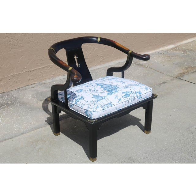 A vintage James Mont lacquered wood ming chair, with a gorgeous vintage patina and brass accents. New blue and white...