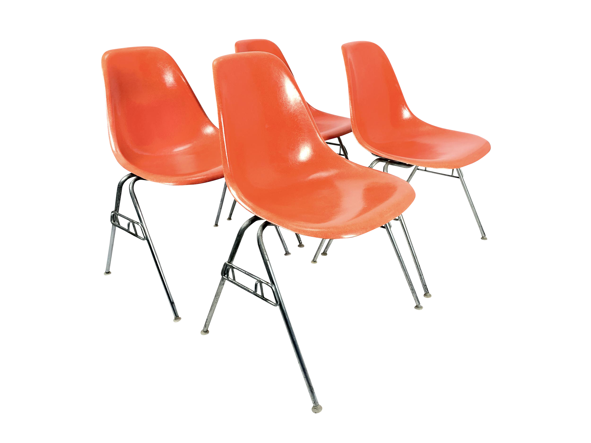 1950s Vintage Charles Eames For Herman Miller Dss Orange Fiberglass  Stacking Chairs   Set Of 4