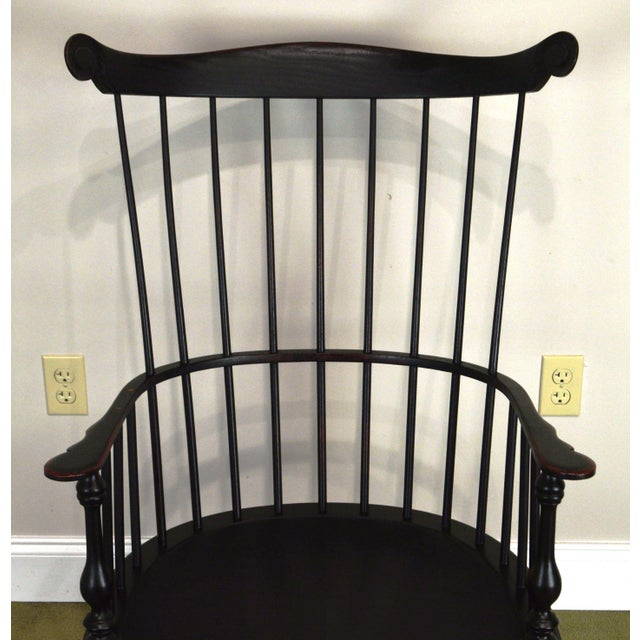 Paint Custom Crafted Distressed Black Painted Windsor Rocker Rocking Chair For Sale - Image 7 of 13