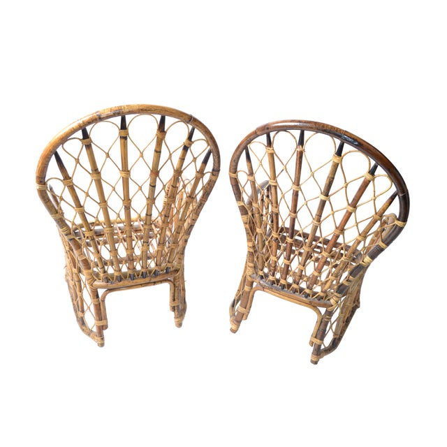 Rattan & Bamboo Dining Chairs - A Pair For Sale - Image 10 of 10