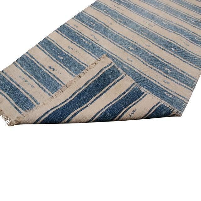"Metal Vintage Malatya Geometric Blue Gray Wool Kilim Runner-2'5'x15'5"" For Sale - Image 7 of 8"