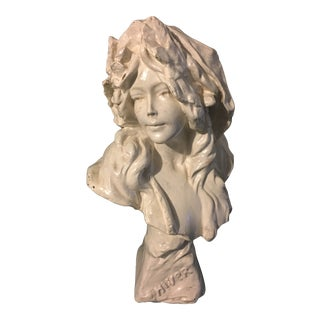 19th C. French Chalkware Female Bust For Sale