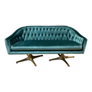 Mid Century Modern Chromcraft Tufted Loveseat Sofa in Blue Green Velvet - Custom Seating Gold Legs For Sale