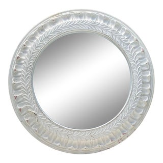 Distressed Plaster White Neoclassical Laurel Wreath Round Wall Mirror For Sale